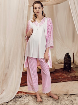 Pink - Stripe - - Viscose - Maternity Pyjamas