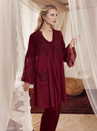 Maroon -  - Viscose - Morning Robe - Artış Collection