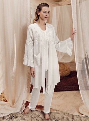 Ecru -  - Viscose - Morning Robe - Artış Collection