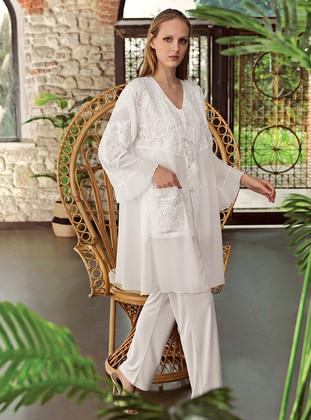Ecru - - Viscose - Morning Robe - Artış Collection