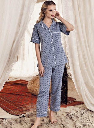 Navy Blue - Shawl Collar - Multi -  - Viscose - Pyjama Set