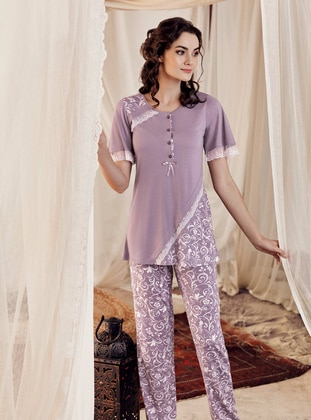 Purple - Crew neck -  - Viscose - Pyjama Set