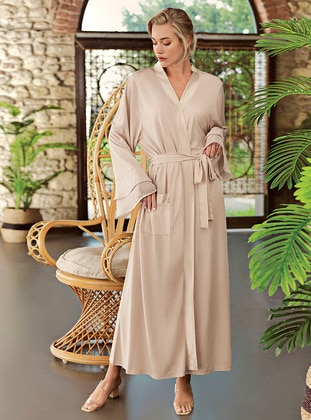 Beige - - Viscose - Morning Robe - Artış Collection