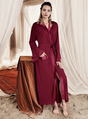 Maroon -  - Viscose - Morning Robe