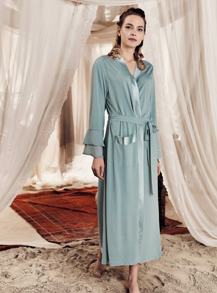 Green Almond - Green -  - Viscose - Morning Robe