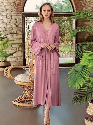 Dusty Rose - - Viscose - Morning Robe - Artış Collection