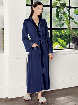 Navy Blue -  - Viscose - Morning Robe