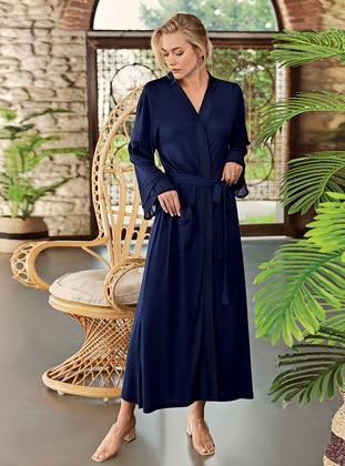 Navy Blue - - Viscose - Morning Robe - Artış Collection