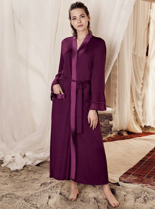 Plum -  - Viscose - Morning Robe