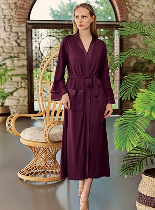 Plum - - Viscose - Morning Robe - Artış Collection