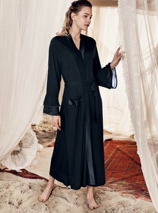 Black -  - Viscose - Morning Robe - Artış Collection