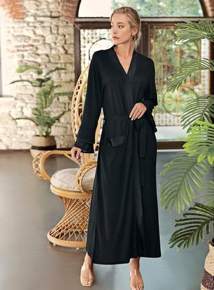 Black - - Viscose - Morning Robe - Artış Collection