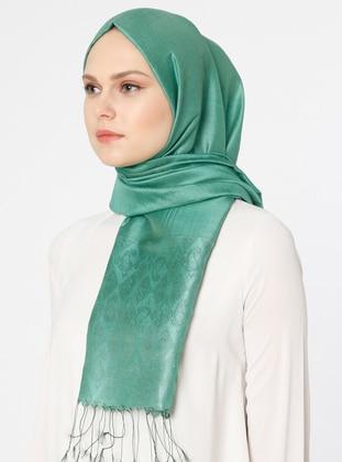Green - Plain - Jacquard - Shawl