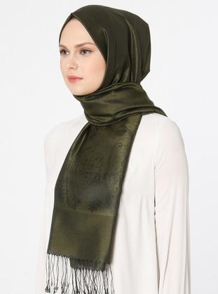 Khaki - Plain - Jacquard - Shawl