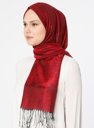 Red - Black - Plain - Jacquard - Shawl