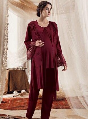 Maroon -  - Viscose - Morning Robe - Artış Collection