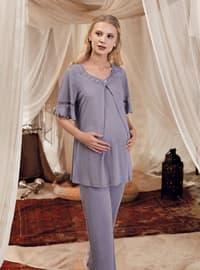 Lilac - Purple -  - Viscose - Maternity Pyjamas