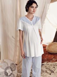 Blue - Stripe -  - Viscose - Maternity Pyjamas