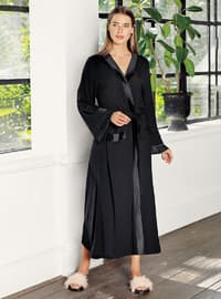 Black - - Viscose - Morning Robe