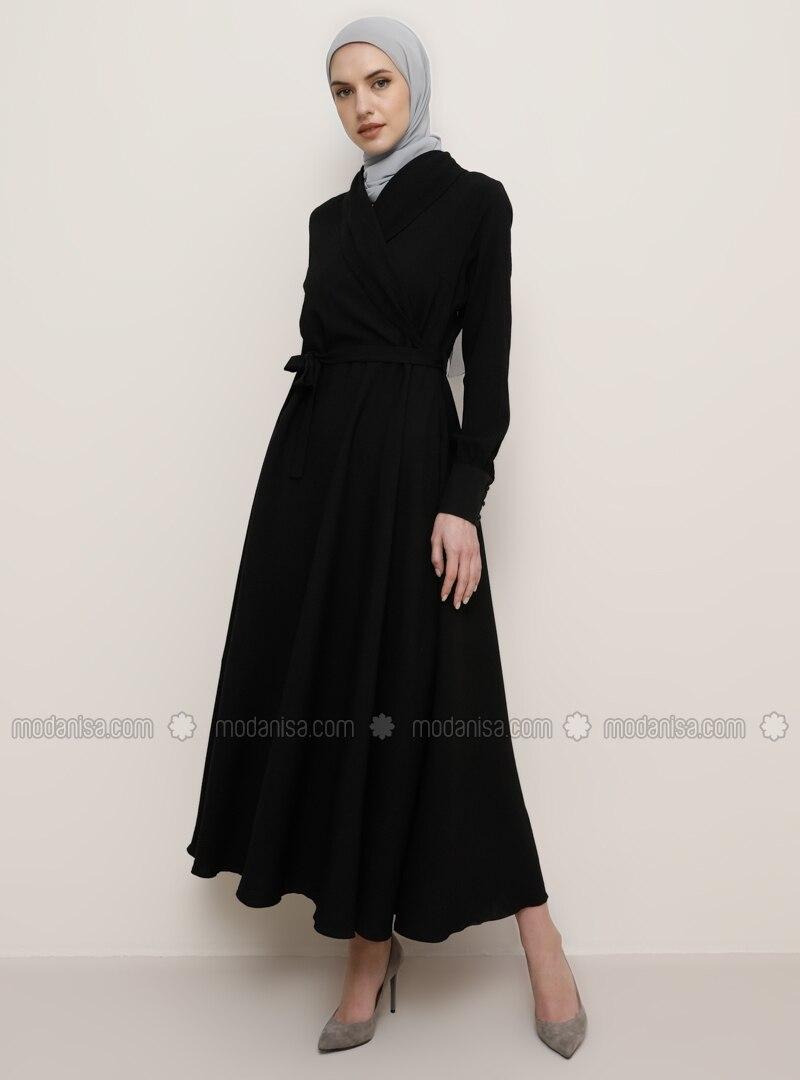schwarz - v-ausschnitt - viskose - hijab kleid