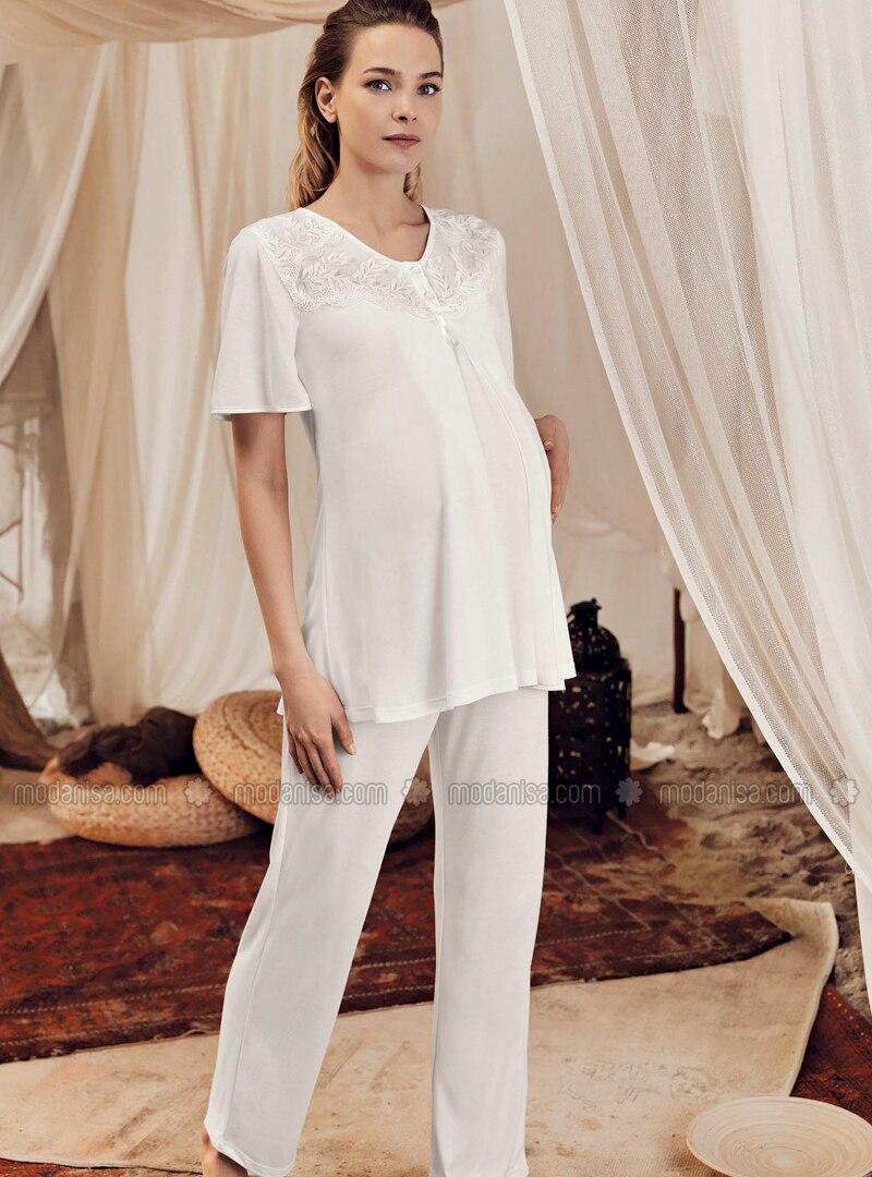 Ecru -  - Viscose - Maternity Pyjamas