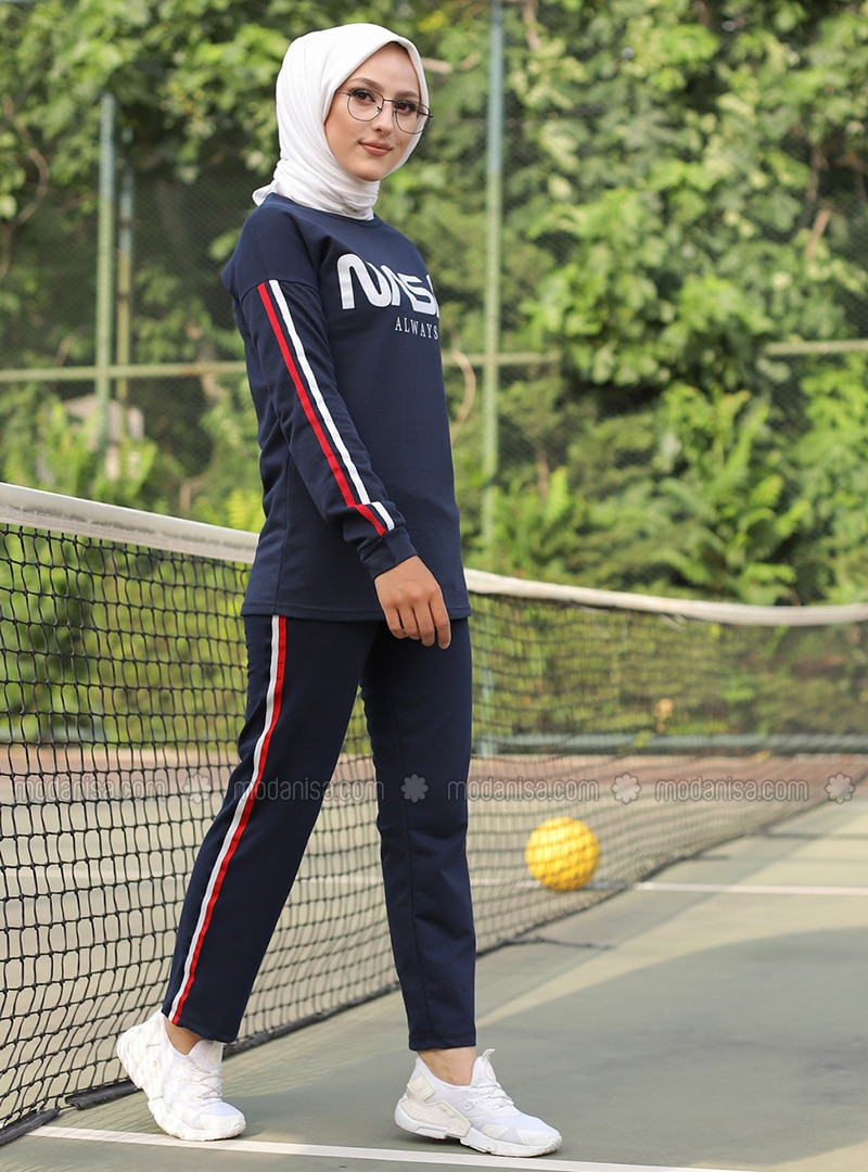 Navy Blue -  - Crew neck - Tracksuit Set -  Sports