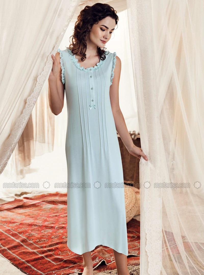Mint - Crew neck - Cotton - Viscose - Nightdress