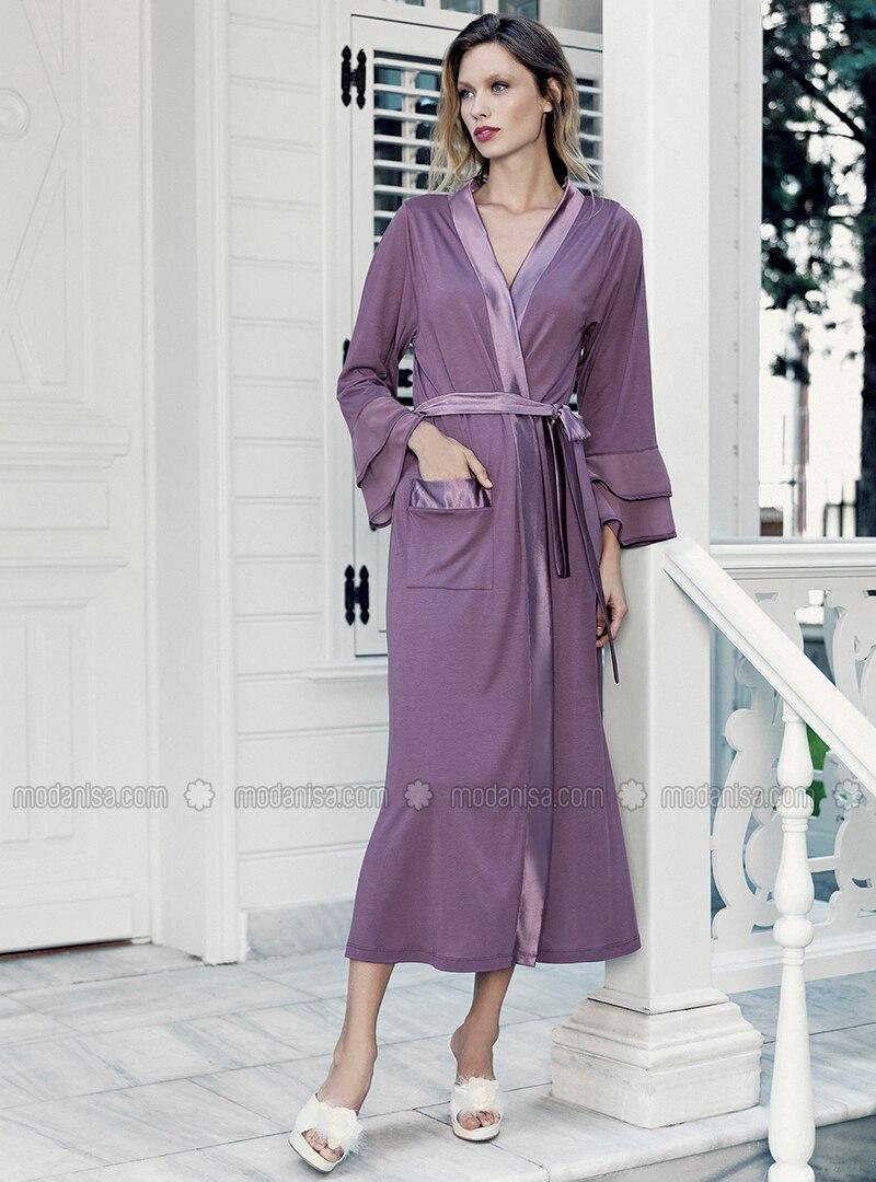 Purple -  - Viscose - Morning Robe