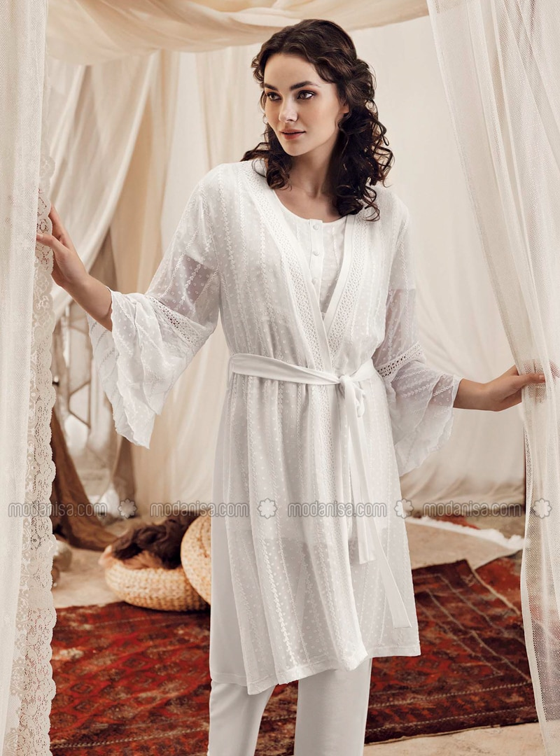Ecru Viscose Morning Robe