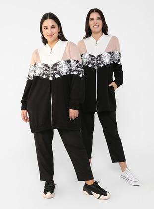 Ecru - Powder - Black - Unlined - Crew neck - - Plus Size Coat