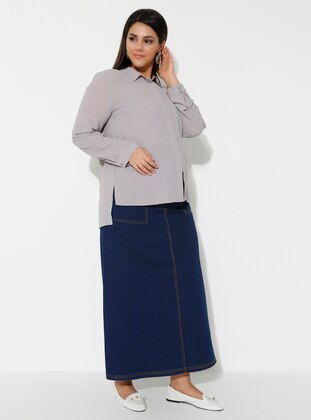 Navy Blue - Denim - Maternity Skirt - Havva Ana