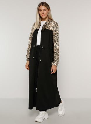 Leopard - Black - Leopard - Unlined -  - Plus Size Coat - Alia