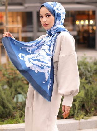 Ice Blue - Multi - Blue - Printed - Shawl -  Şal