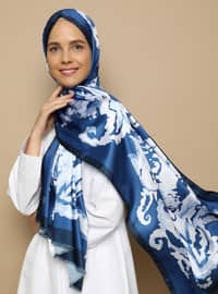 Ice Blue - Multi - Blue - Printed - Shawl -  Şal