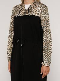 Leopard - Black - Leopard - Unlined - - Plus Size Coat