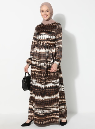 Brown - Multi - Crew neck - Unlined - Dress