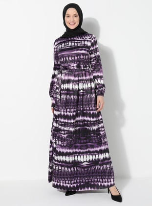 Purple - Multi - Crew neck - Unlined - Dress