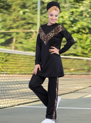 Black - Leopard - Crew neck - Tracksuit Set -  Sports
