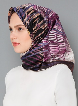 Multi - Purple - Printed - %100 Silk - Scarf