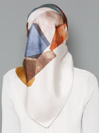 Multi - Printed - %100 Silk - Scarf