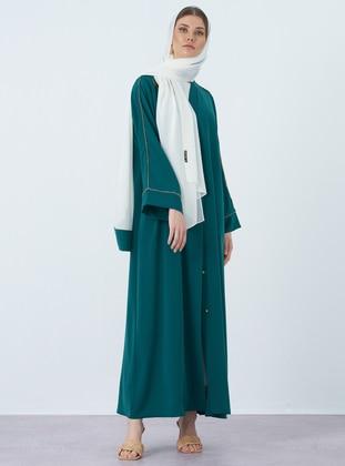 Green - V neck Collar - Abaya