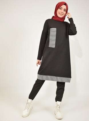 Black - Stripe -  - Tunic