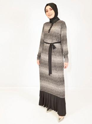 Gray - Black - Crew neck - Unlined -  - Dress
