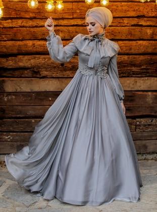 Gray - Fully Lined - Crew neck - Viscose - Muslim Evening Dress