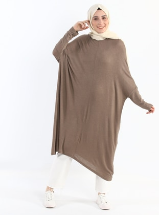 Khaki - Crew neck - Viscose - Tunic