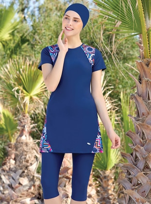 Navy Blue - Half Covered Switsuits - Adasea