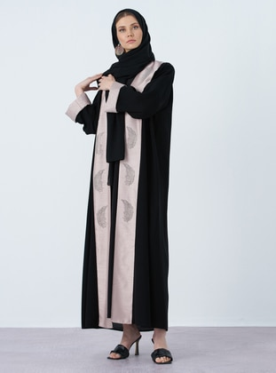 Powder - Black - Crepe - Abaya