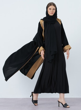 Gold - Black - V neck Collar - Abaya