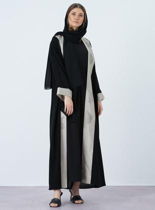 Gray - Black - V neck Collar - Abaya