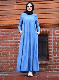 Mavi - Yuvarlak yakalı - Astarsız kumaş - Kot - Pamuk - - Elbise